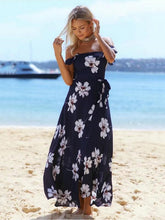 Load image into Gallery viewer, Blue Floral Off-the-shoulder Split-front Bohemia Maxi Dress