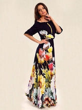Load image into Gallery viewer, Floral Printed Off-the-shoulder Half Sleeves Maxi Dress