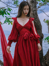 Load image into Gallery viewer, Red Cotton Blends V-neck Maxi Dress