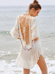 Pompoms Backless Cover-Ups Swimwear