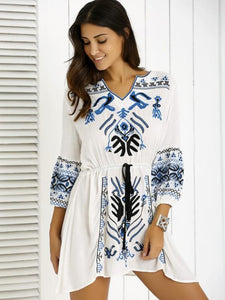 Bohemia Puff Sleeves Embroidered Mini Dress