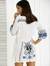 Load image into Gallery viewer, Bohemia Puff Sleeves Embroidered Mini Dress