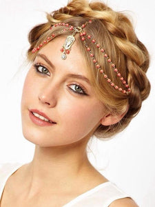 Bohemian Diamonds Pearl Fringe Headband Hair Band Headwear