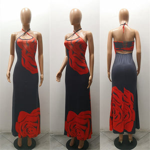 Sexy Printed Halter Side Split Maxi Dress