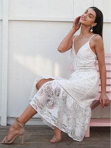 Sexy Deep V Neck Lace Summer White Midi Dress