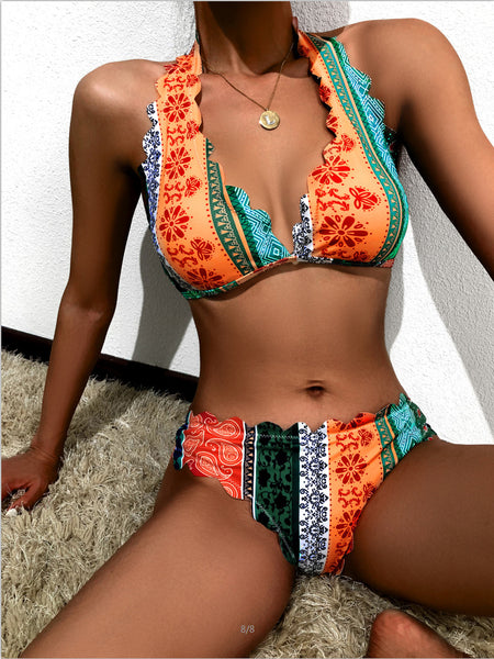 Printed High-waisted Sexy Bikini Split Swimsuit Girl