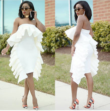 Load image into Gallery viewer, Sexy Off Shoulder Ruffle Solid Color Bodycon Mini Dress