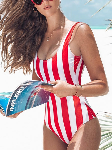 Women Sexy Bikinis Sets One Piece Striped Swimsuit