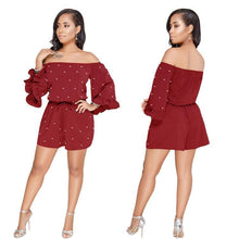 Load image into Gallery viewer, Polka Dot Off Shoulder Long Sleeve High Waist Jumpsuit Rompers