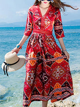 Load image into Gallery viewer, National Floral-Print Half Sleeve V Neck Bohemia Beach Dress