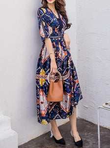 National Floral-Print Half Sleeve V Neck Bohemia Beach Dress