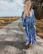 Load image into Gallery viewer, Print V Neck Long Sleeve Bohemia Maxi Dress