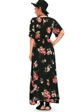 Load image into Gallery viewer, Floral Print V Neck Split Belted Beach Maxi Dress