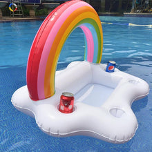 Load image into Gallery viewer, Rainbow Inflatable Floating Wine Serve Swimming Toy