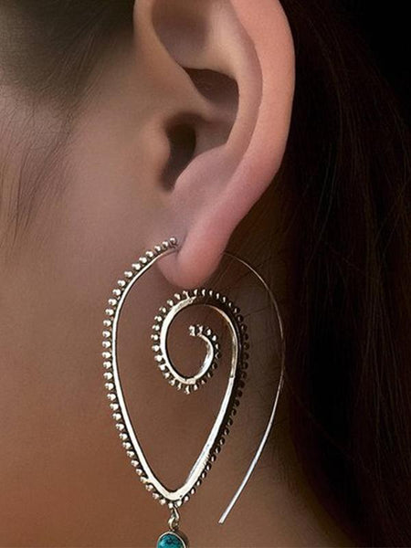 Exaggerated Retro Style Boho Hippy Spiral Earrings