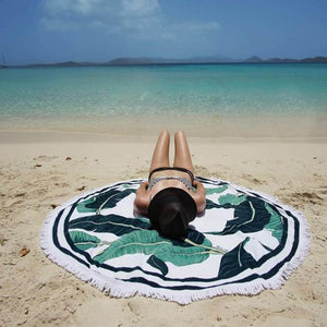 Hot Sale Green leaves printed fringed beach towel sun shawl Variety scarf yoga cushion Mat