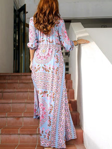 V-neck 3/4 Sleeves Floral Print Split-Front Beach Maxi Bohemian Dress