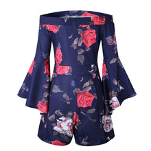 Load image into Gallery viewer, Floral Print Off Shoulder Flared Sleeve Boho Rompers