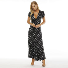 Load image into Gallery viewer, Polka Dot V Neck Short Sleeve Side Split Beach Maxi Dress