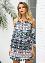 Load image into Gallery viewer, 2018 Summer Print Cold Shoulder Bohemia Mini Dress