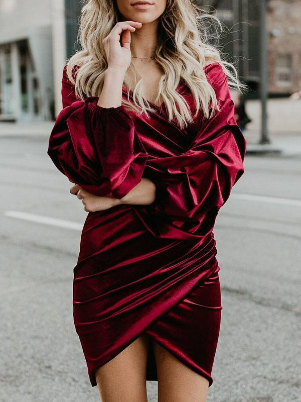 2018 Solid Color V Neck Long Sleeve Irregular Mini Dress