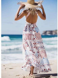 Seaside Vacation Retro Beach Big Swing Halterneck Split Dress