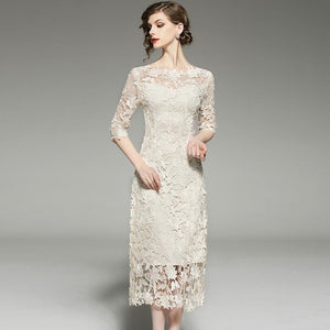 Vintage 2018 Lace Hollow Splice Dress