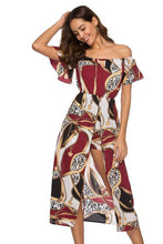 Load image into Gallery viewer, Bohemia Wrapped Trumpet Sleeves Printed Geometric Beach Dress