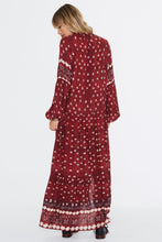 Load image into Gallery viewer, Red Chiffon V Neck Long Sleeve Side Split Maxi Dress