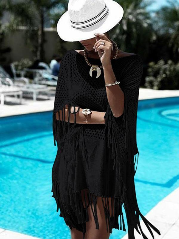 Loose Hollow Knit Summer Beach Cover-ups