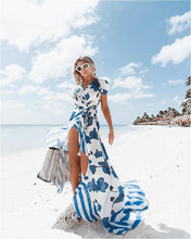 Load image into Gallery viewer, Printed V Neck Short Sleeve Bohemia Beach Maxi Dress