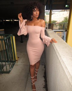 Sexy Off Shoulder Trumpet Sleeve Solid Color Bodycon Mini Dress