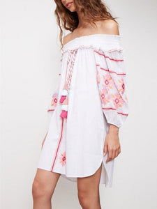 Fashion Embroidery Off-the shoulder Tassels Mini Dress