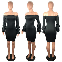 Load image into Gallery viewer, Sexy Off Shoulder Trumpet Sleeve Solid Color Bodycon Mini Dress
