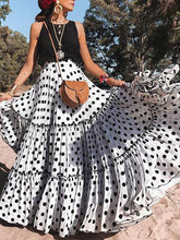 Load image into Gallery viewer, Polka Dot High Waist Loose Boho Maxi Dress