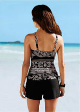 Load image into Gallery viewer, Conservative Large Size Split Flat Angle Print Swimsuit