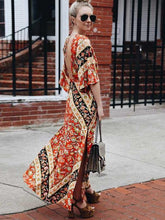 Load image into Gallery viewer, Print Backless Side Split Maxi Dress