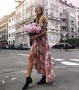 Flower Print Off Shoulder Split Dress