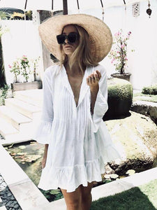 Autumn Bohemian Flare Sleeve Ruffles White Beach Dress