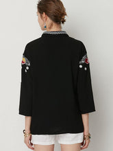 Load image into Gallery viewer, Casual V-neck Floral Print Boho Blouses Tops