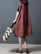 Load image into Gallery viewer, Linen Cotton Solid Color Short Sleeve Loose Dress