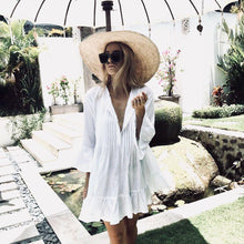 Load image into Gallery viewer, Autumn Bohemian Flare Sleeve Ruffles White Beach Dress
