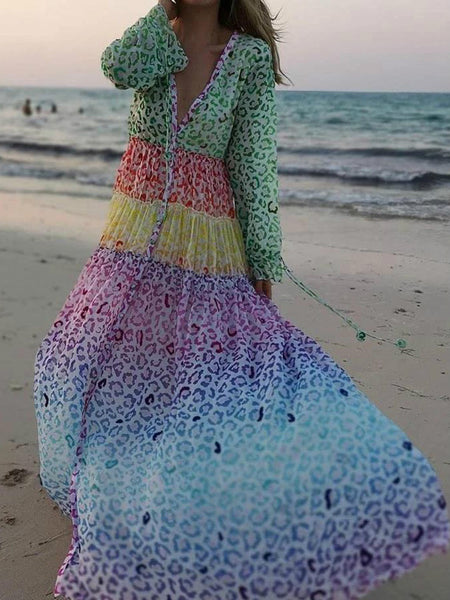 Stylish V-neck Long-sleeved Print Beach Dress