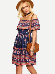 Off-the-Shoulder Beach Floral-Print Bohemia Mini Dress