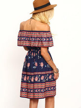 Load image into Gallery viewer, Off-the-Shoulder Beach Floral-Print Bohemia Mini Dress
