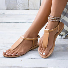 Load image into Gallery viewer, Plain Flat Peep Toe Flat Beach Sandals