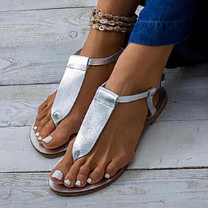 Plain Flat Peep Toe Flat Beach Sandals