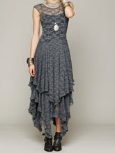 Load image into Gallery viewer, Lace Solid Color Irregular Maxi Dress