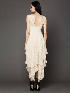 Lace Solid Color Irregular Maxi Dress