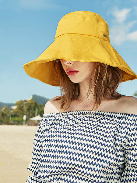 Solid Color Women Beach Hat Sunshade Hat Customized Summer Big Brim Anti Ultraviolet Fisherman's Hat